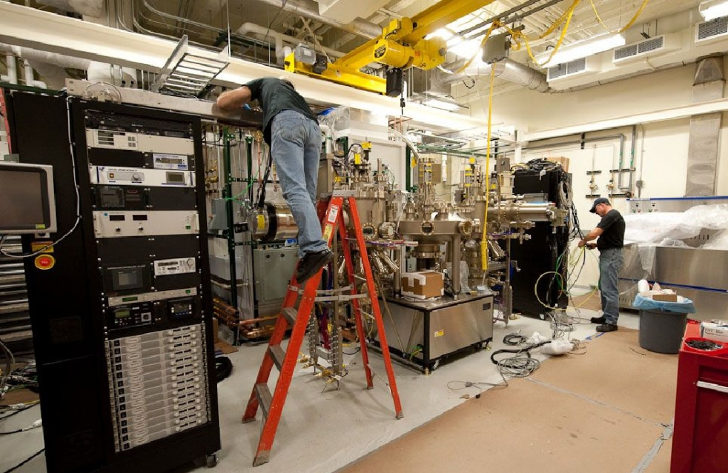 Veeco GEN10 MBE system dedicated to the growth of oxide heterostructures being installed in Duffield Lab at Cornell