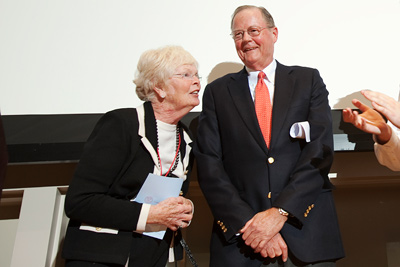 Patricia and David Atkinson enjoy a standing ovation for their gift. (Jason Koski/University Photography)