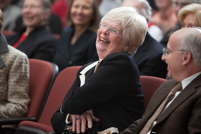 Patricia Atkinson and Glenn Altschuler, the Thomas and Dorothy Litwin Professor of American Studies, share a laugh with the crowd in Statler Auditorium. (Jason Koski/University Photography)