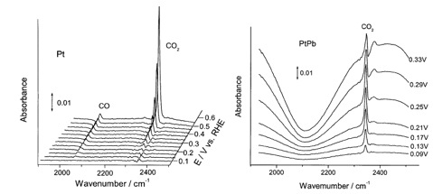 Fig. 2:  Infrared spectra collected during oxidation of formic acid at Pt and PtPb, with the electrode potential indicated to the right of each spectrum.  The background spectrum was collected with the electrode at +0.05 V vs RHE.