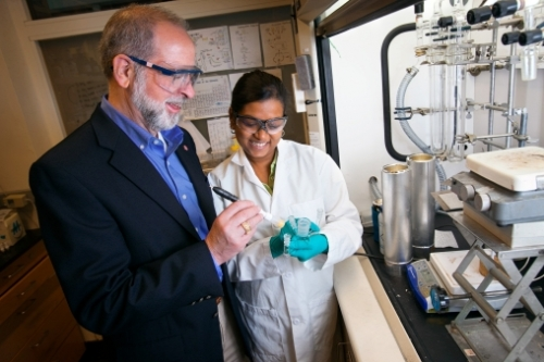 Frank DiSalvo, the John A. Newman Professor of Physical Science and director of the Atkinson Center, in his lab with Chinmayee Subban, a graduate student in chemistry and chemical biology.