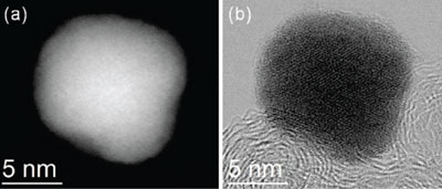 Atomic resolution images of the palladium-colbalt nanoparticle, before platinum deposition.